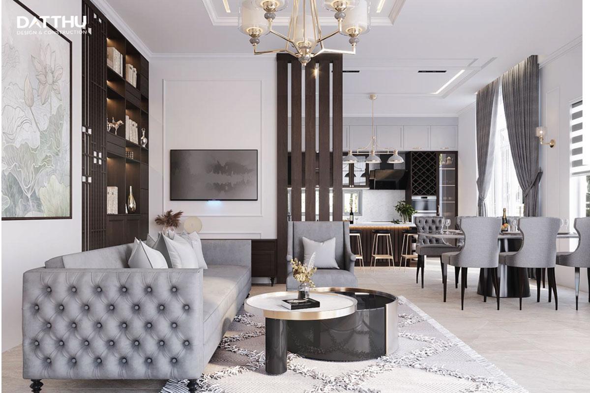 Một góc không gian phòng khách trong biệt thự 3 tầng