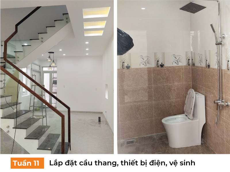 Lắp đặt cầu thang, thiết bị vệ sinh.
