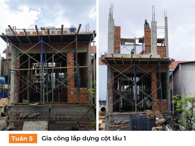 Gia công lắp dựng cột lầu 1.