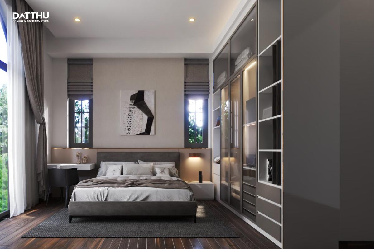 Phòng ngủ master thoáng đãng với view rộng đối lưu tốt nhờ hệ cửa sổ và cửa ra ban công