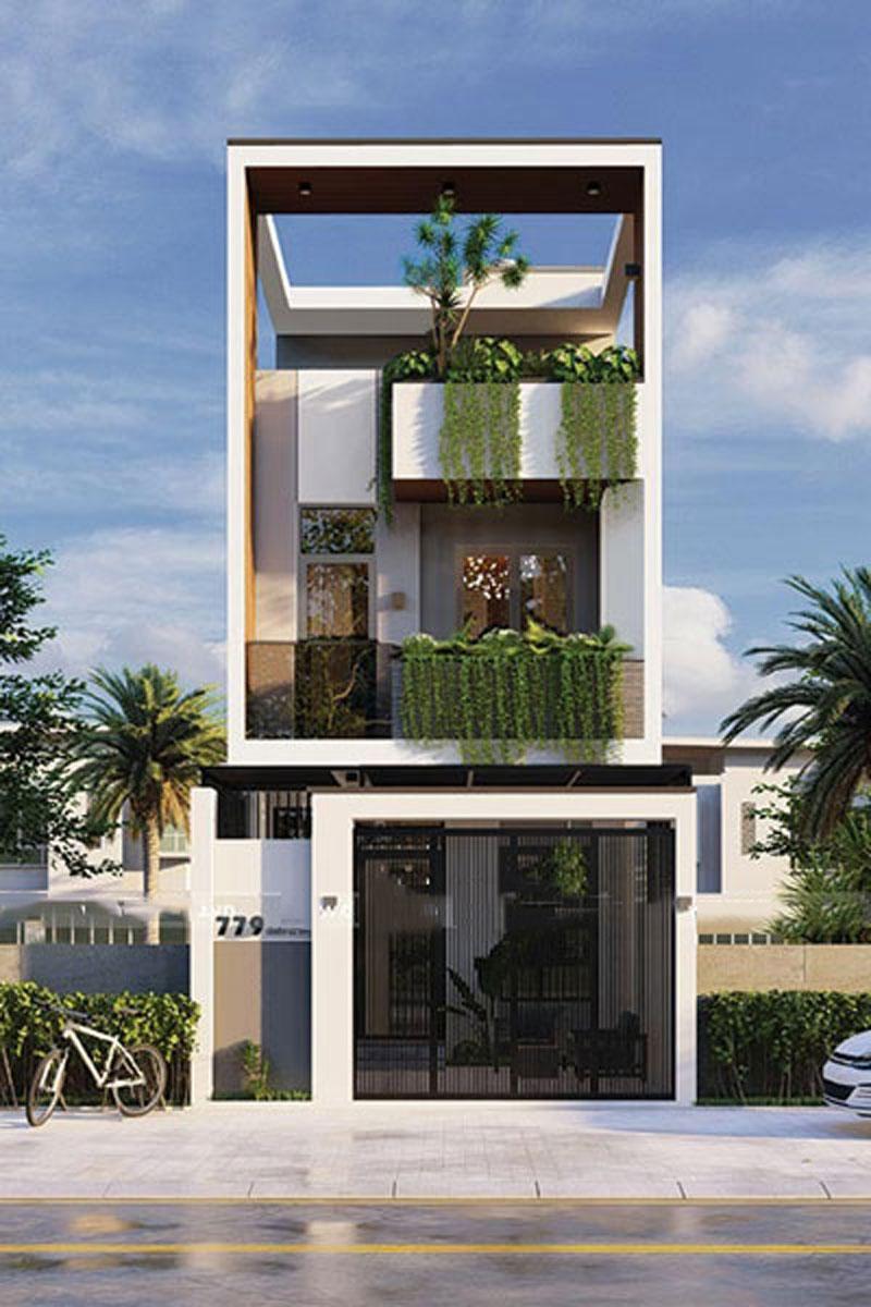 Mẫu nhà 3 tầng không gian xanh