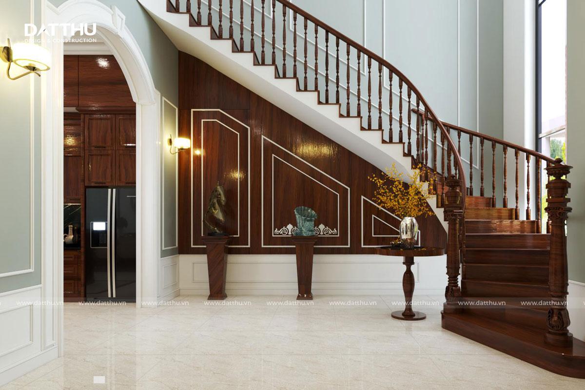 Cầu thang gỗ mang hơi hướng cổ điển
