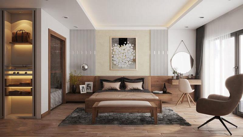 Sự tinh tế hiện diện trong không gian phòng ngủ nhờ chất liệu gỗ sang trọng.