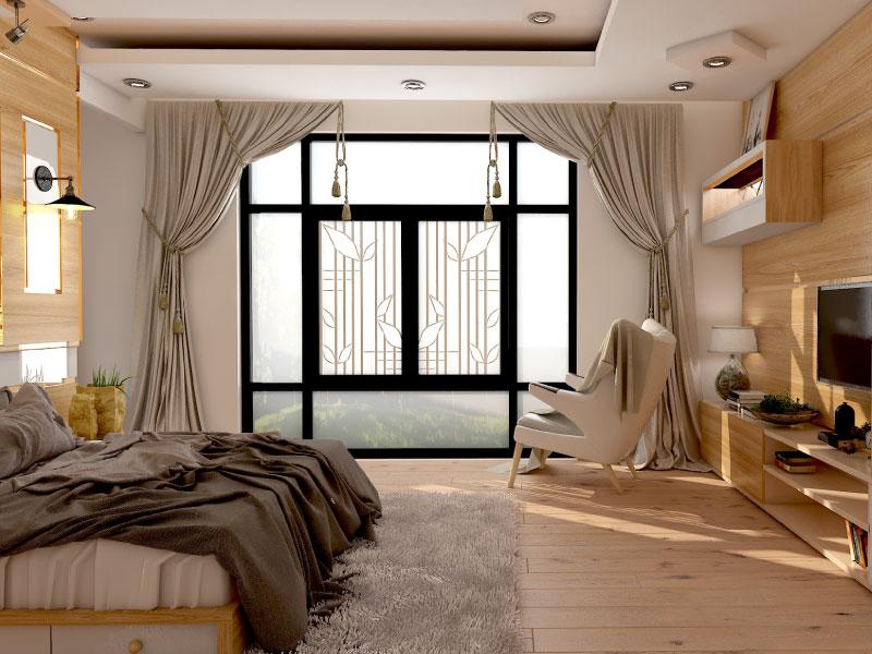 Tone màu vàng ấm của gỗ tạo cho căn phòng vẻ mộc mạc nhưng không kém phần sang trọng.