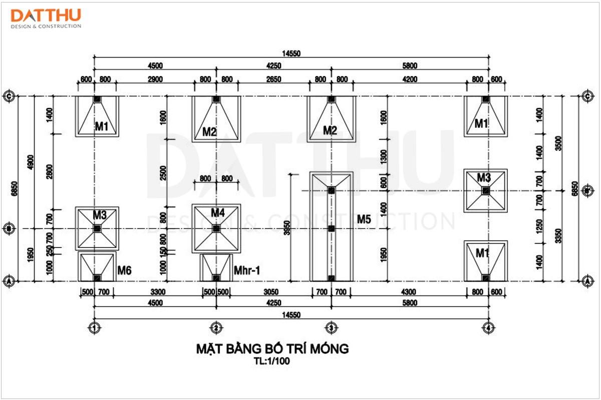 Mặt bằng kết cấu móng trong hồ sơ thiết kế kết cấu