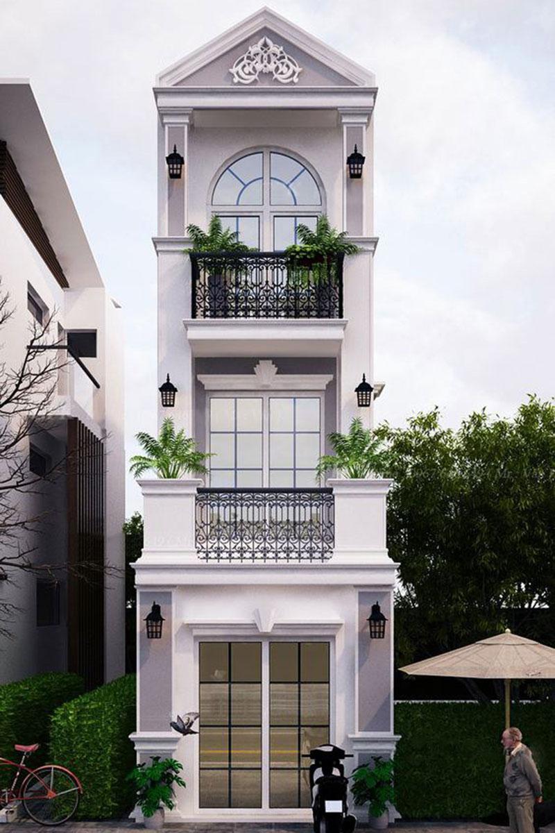 Thiết kế sử dụng hệ cửa kính lớn phối cùng hai trụ cột vuông cân đối.