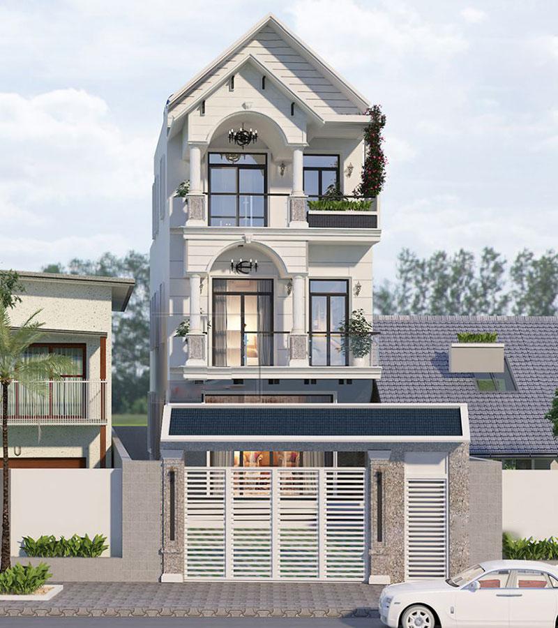 Trên tone màu trắng ngà, nhà 3 tầng mái thái này toát lên vẻ đẹp thanh lịch