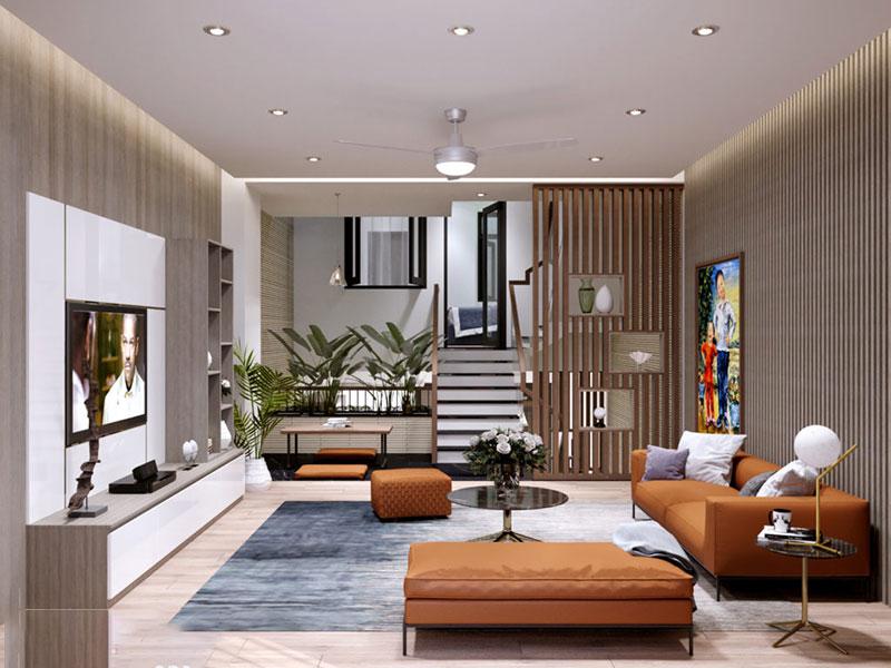 Hai không gian trong nhà được phân tách rõ ràng trong thiết kế nhà lệch tầng hiện đại