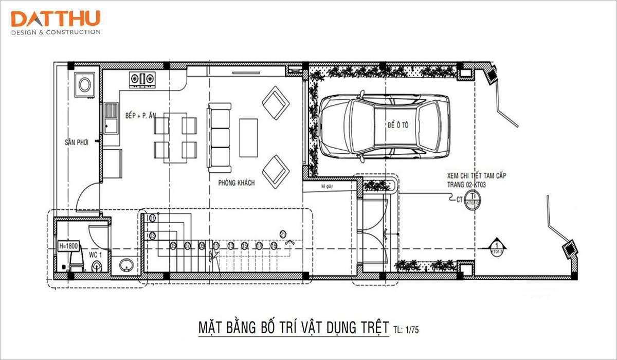 Bản vẽ mặt bằng công năng nhà ống 2 tầng 3 phòng ngủ 7mx18m tầng trệt