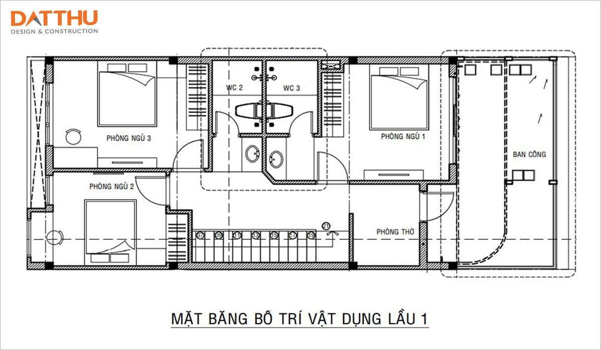 Bản vẽ mặt bằng công năng nhà ống 2 tầng 3 phòng ngủ 7mx18m tầng 1