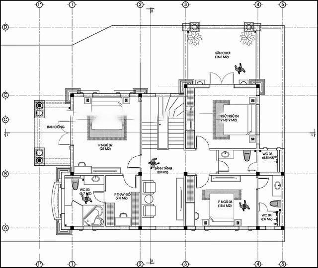 Bản vẽ tầng 2 biệt thự tân cổ điển