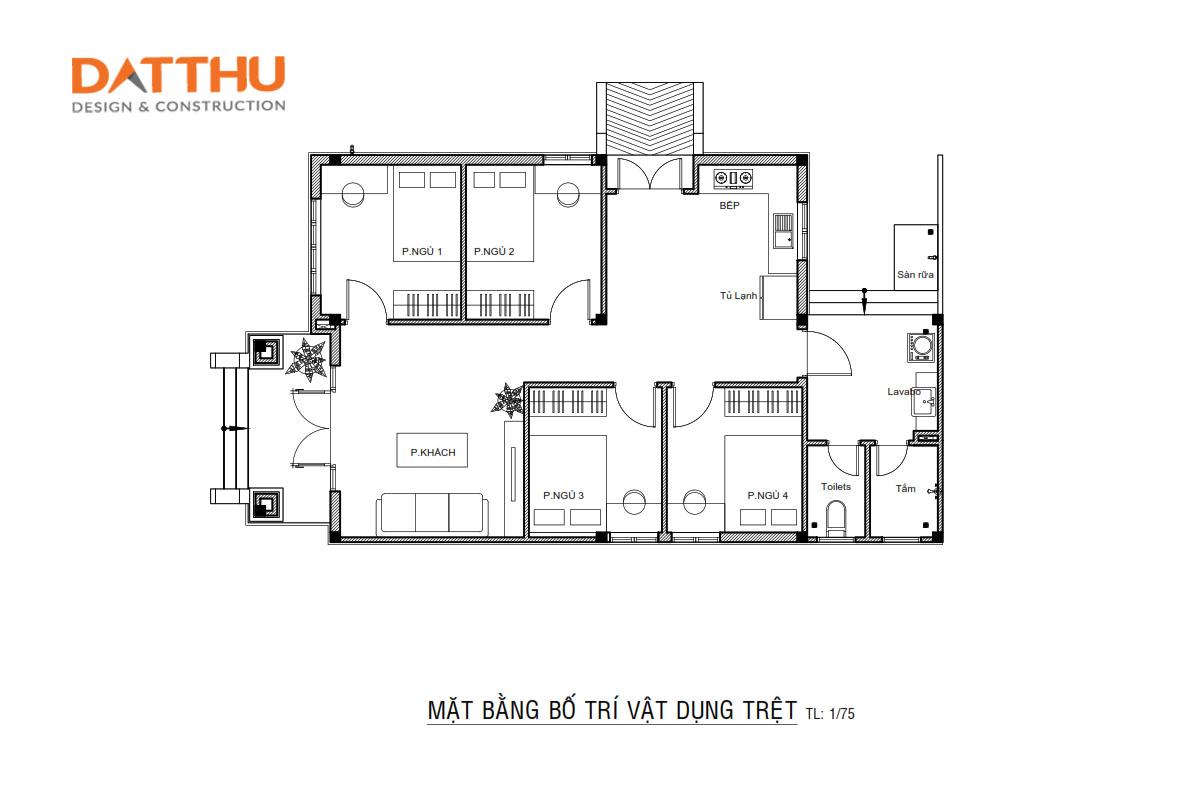Mẫu Nhà Phố 1 Tầng Anh Đạt