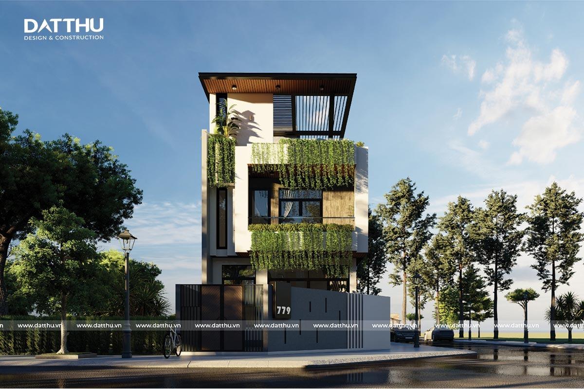Nhà 3 tầng 5x12m hiện đại tối giản.