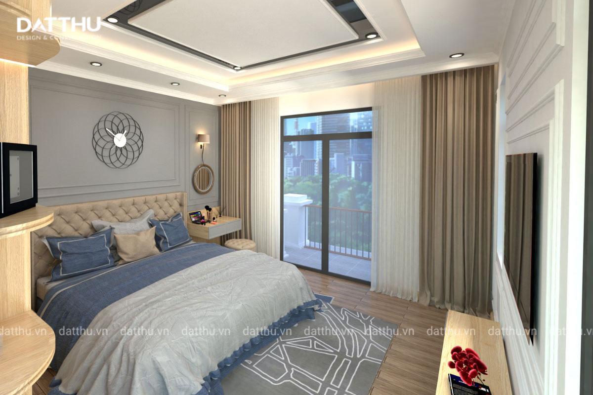 Phòng ngủ chính nhà ống 3 tầng.