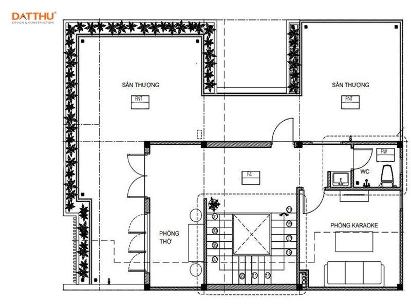 Mặt bằng mẫu nhà 2 tầng có sân thượng - ảnh 4
