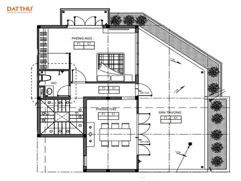 Mặt bằng mẫu nhà 2 tầng có sân thượng - ảnh 3