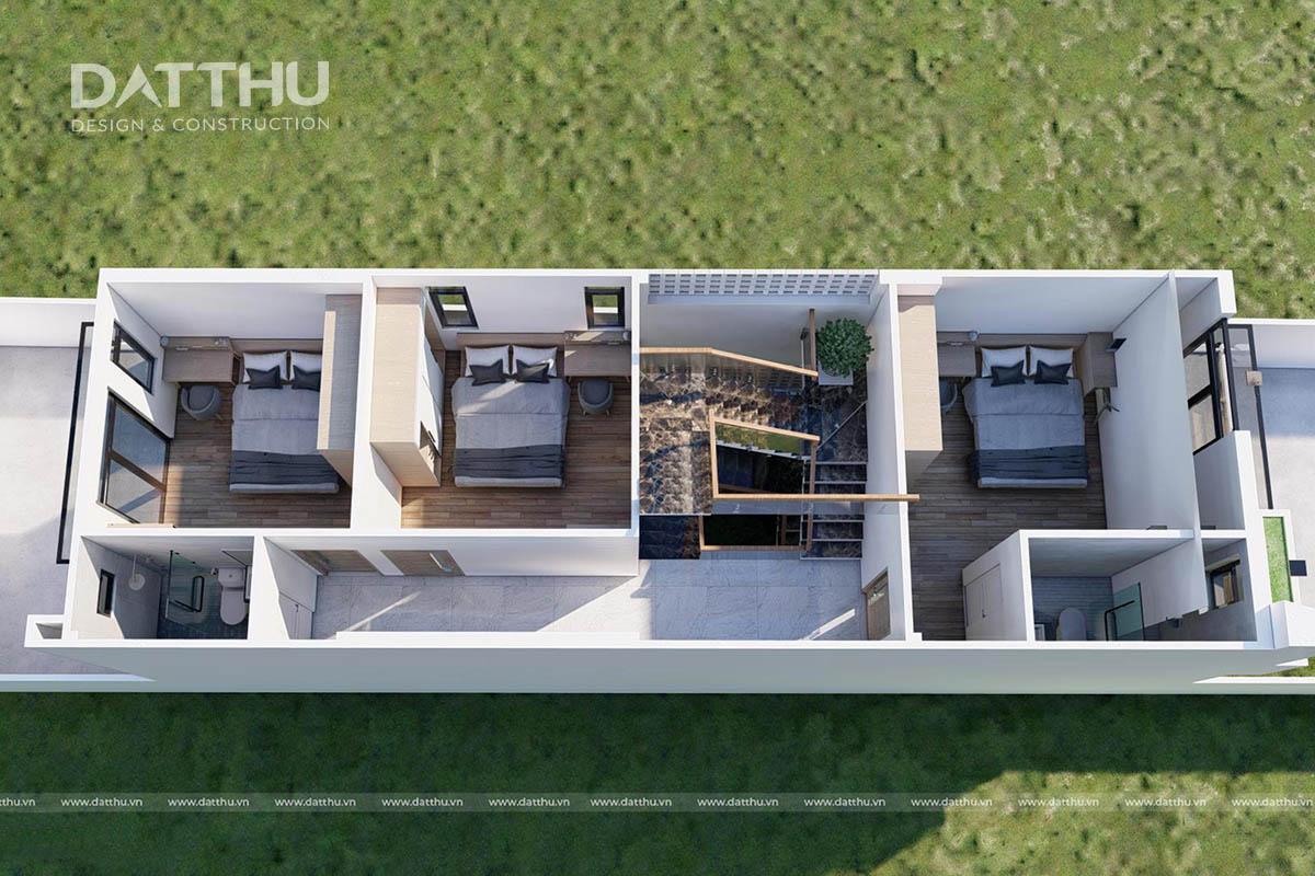 mặt bằng công năng nhà phố 3 tầng TK2132