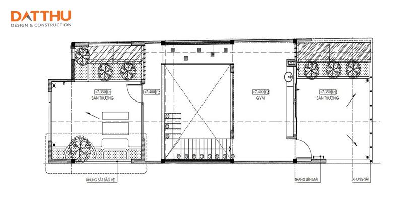 Nhà có 2 sân thượng.