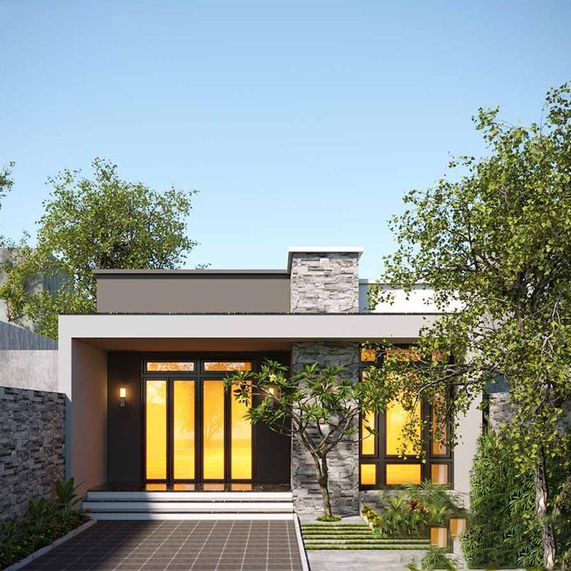 Thiết kế trệt chia hai khối nhà.