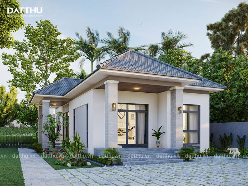 Mặt tiền ngôi nhà đẹp với vẻ mộc mạc.