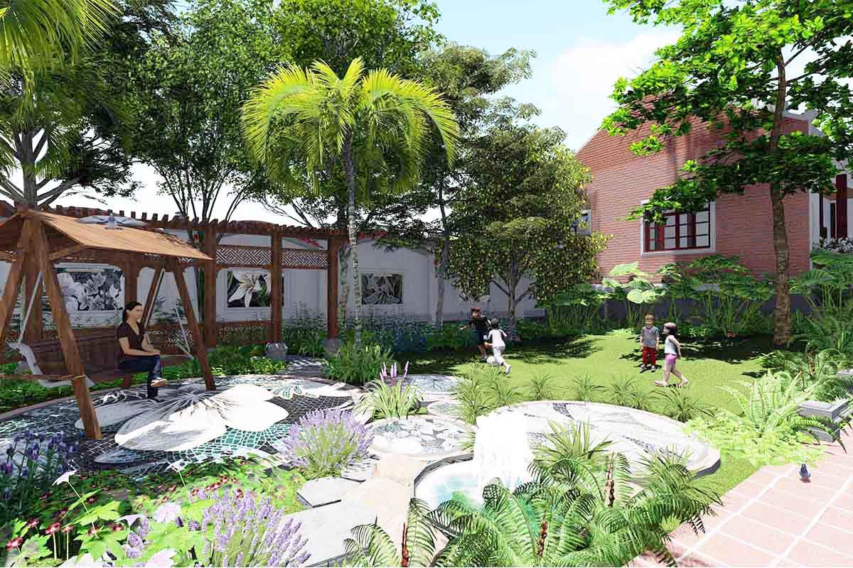 Sân vườn xanh mát