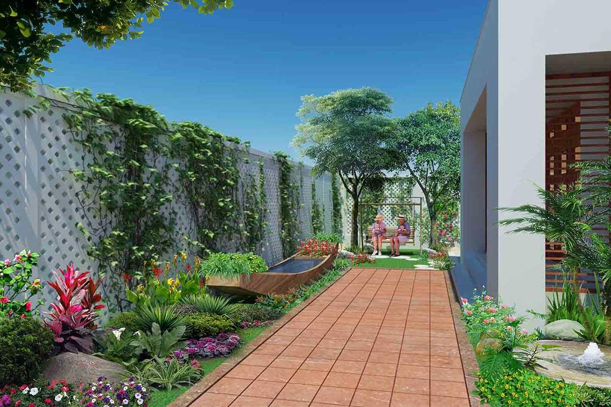 Bố trí cây xanh, tiểu cảnh trong sân vườn