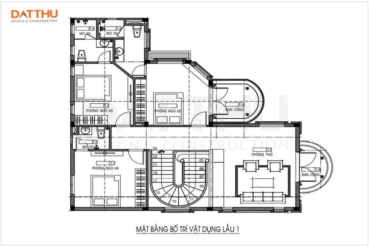 Bản vẽ mặt bằng lầu 1 biệt thự 2 tầng 4 phòng ngủ Tân cổ điển