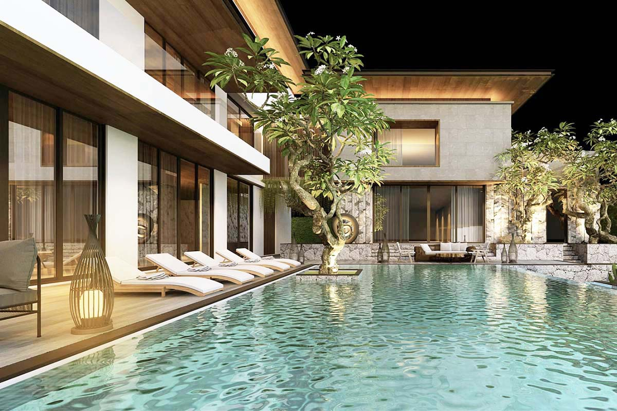 Một góc hồ bơi trong biệt thự
