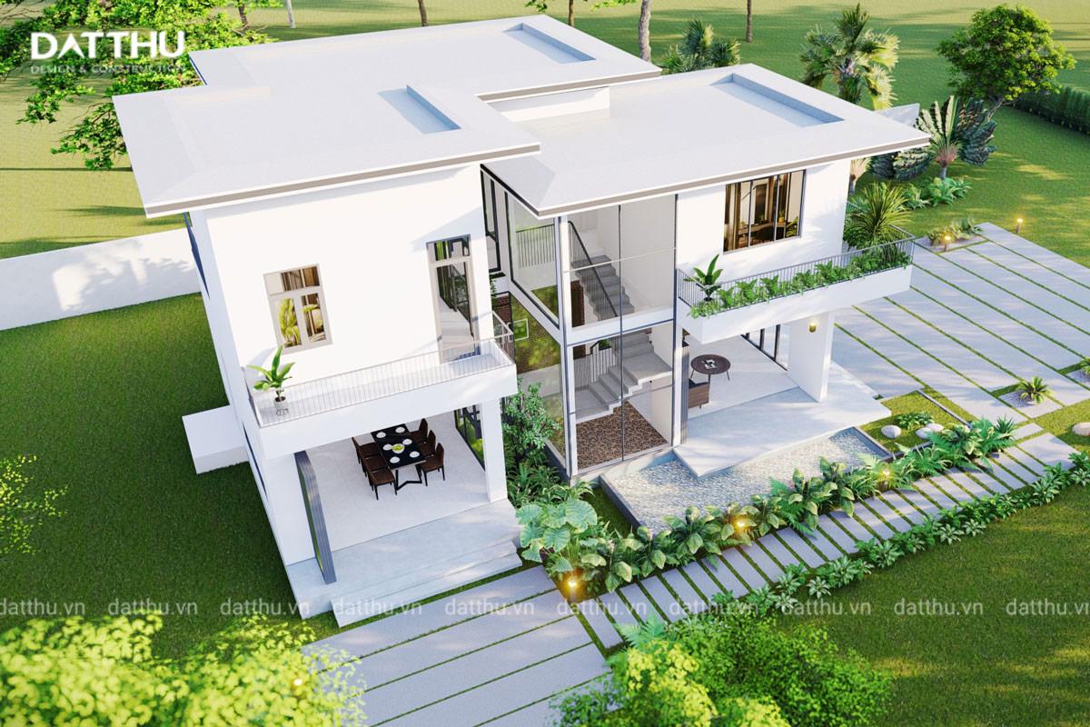 Thiết kế ngoại thất căn biệt thự 2 tầng mái bằng