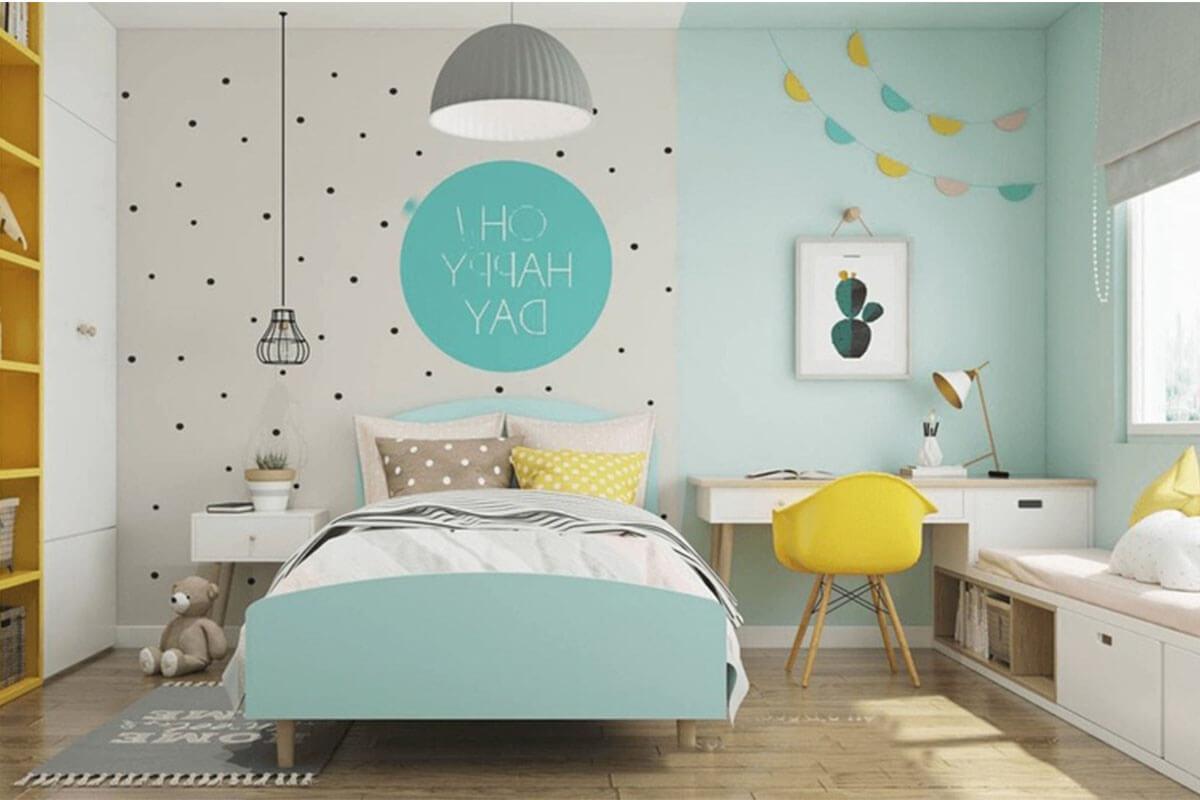 Phòng ngủ bé trai tông xanh minh