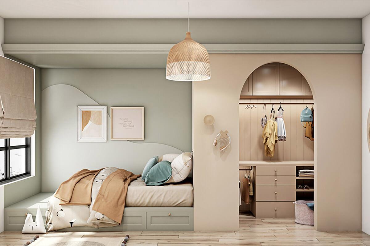 Thiết kế phòng ngủ hiện đại và sang trọng đáp ứng sở thích về thời trang của bé.
