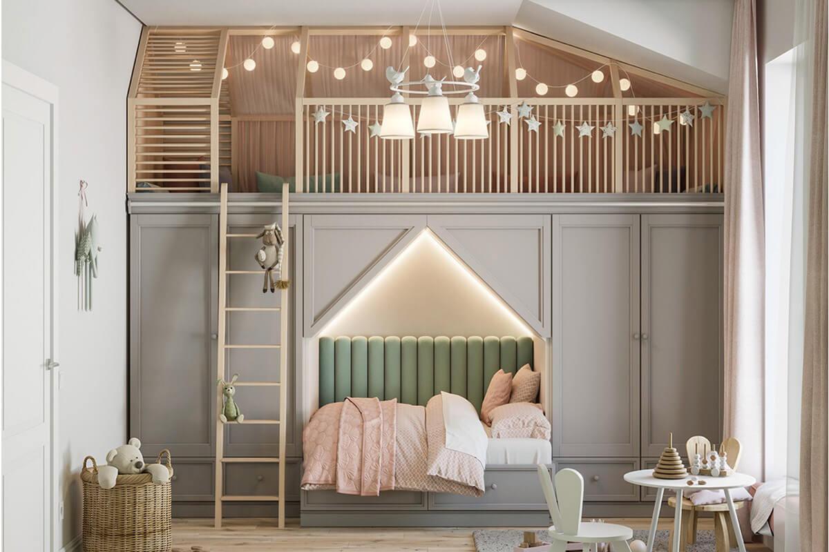 Sáng tạo với căn hộ áp mái nhỏ phía trên giường ngủ.