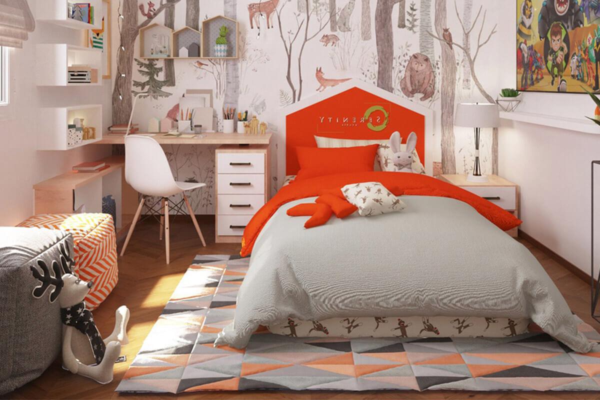 Phòng ngủ đầy màu sắc với các nhân vật hoạt hình mà bé yêu thích.