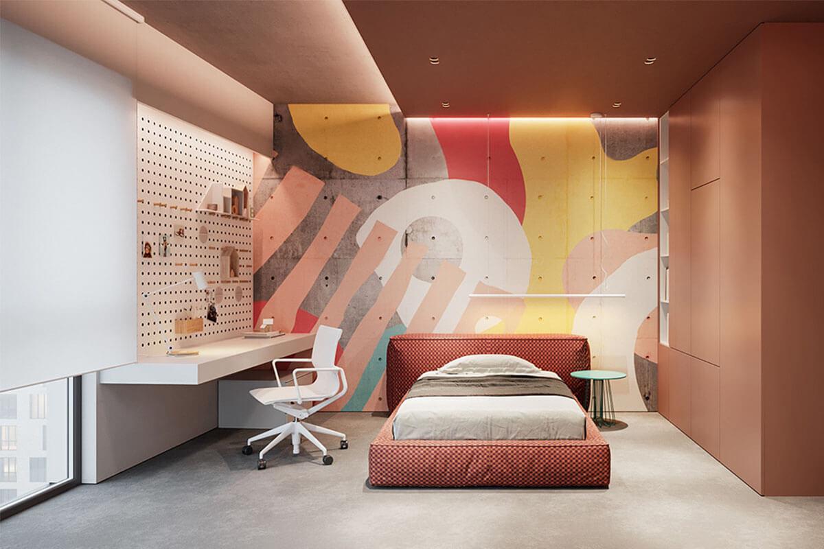 Thiết kế phòng ngủ trẻ em nhiều sắc màu