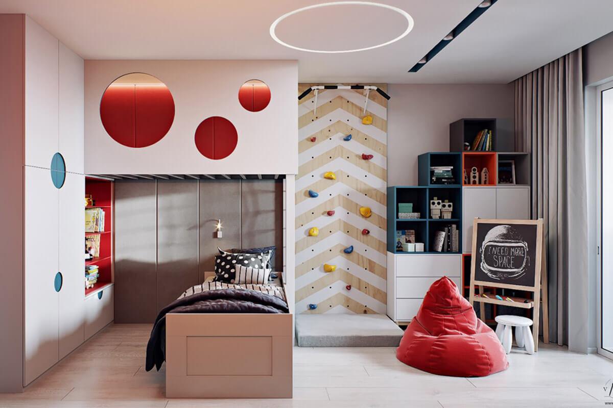 Kiểu phòng ngủ trẻ em có khu vực leo núi trong phòng