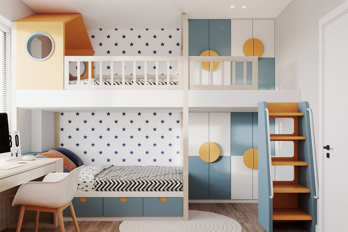 Phòng cho các con có giường tầng