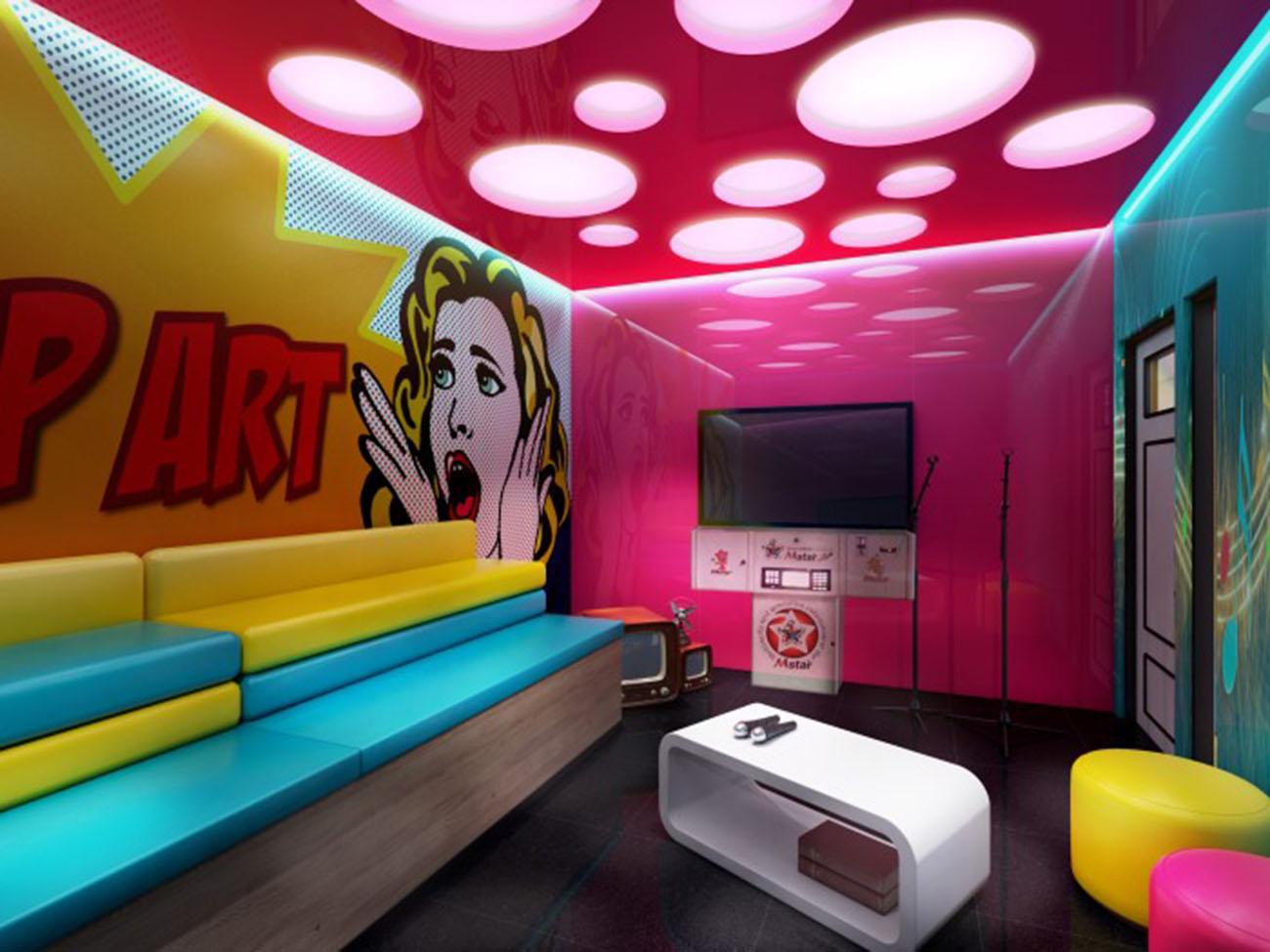 Tông màu tương phản khi thiết kế phòng karaoke biệt thự