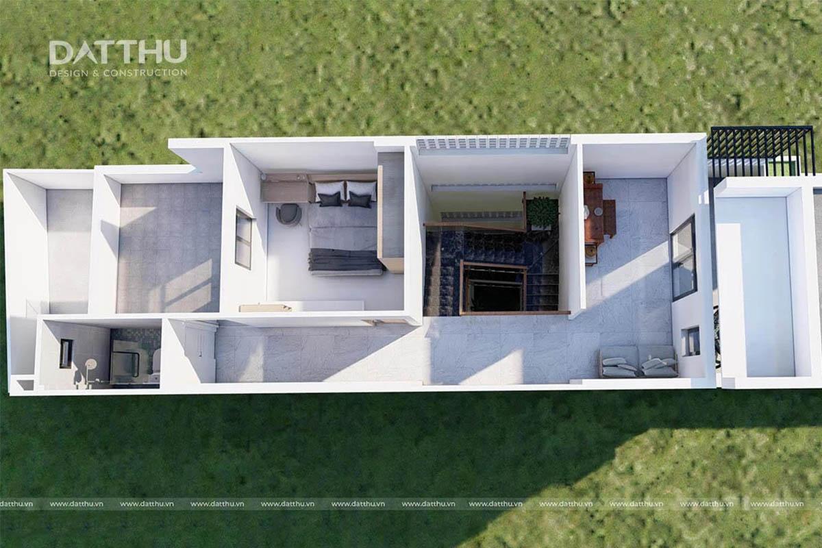 Bản vẽ mặt bằng tầng 2 nhà 3 tầng 5x15m   Đất Thủ