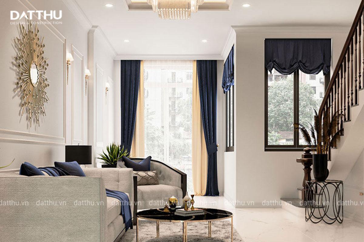 Không gian phòng khách thoáng sáng nhà 3 tầng 5x15