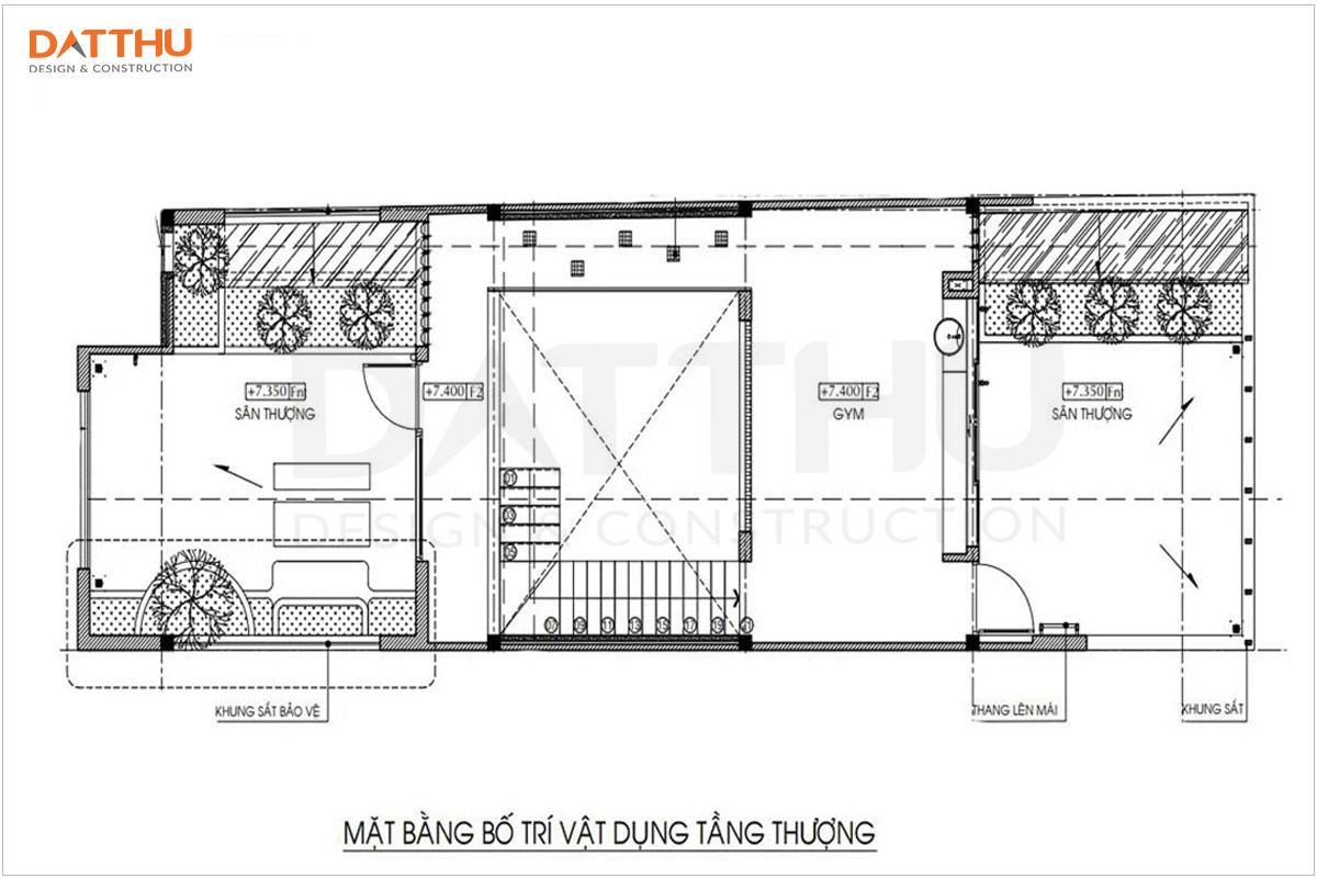 Bản vẽ mặt bằng tầng 2 nhà 3 tầng 5x16m