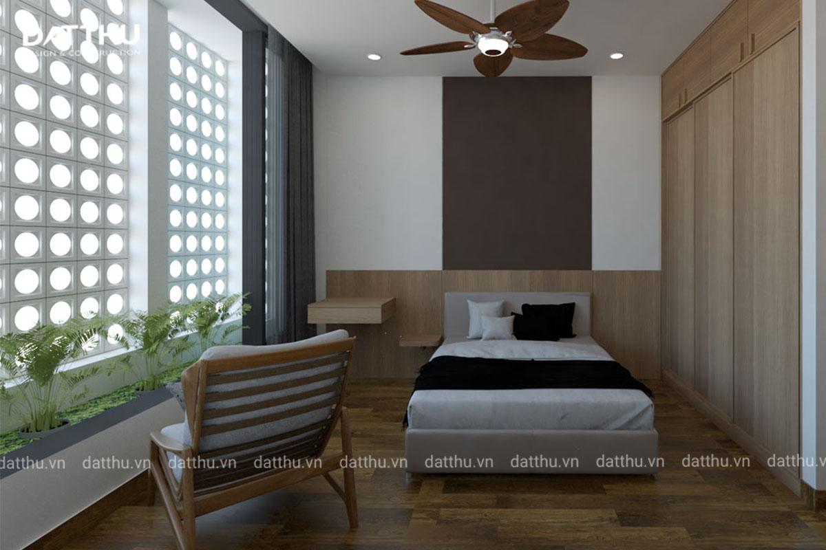Một góc phòng ngủ tông màu trầm