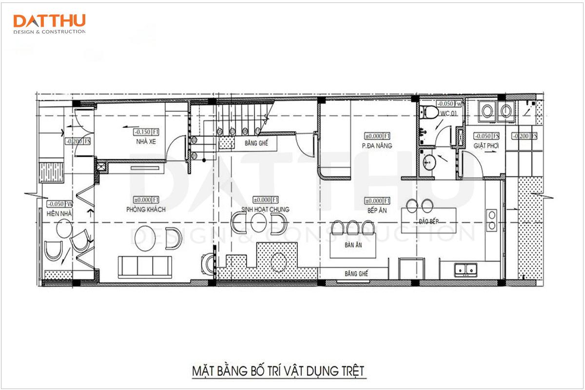Bản vẽ mặt bằng tầng trệt nhà 3 tầng 5x16m