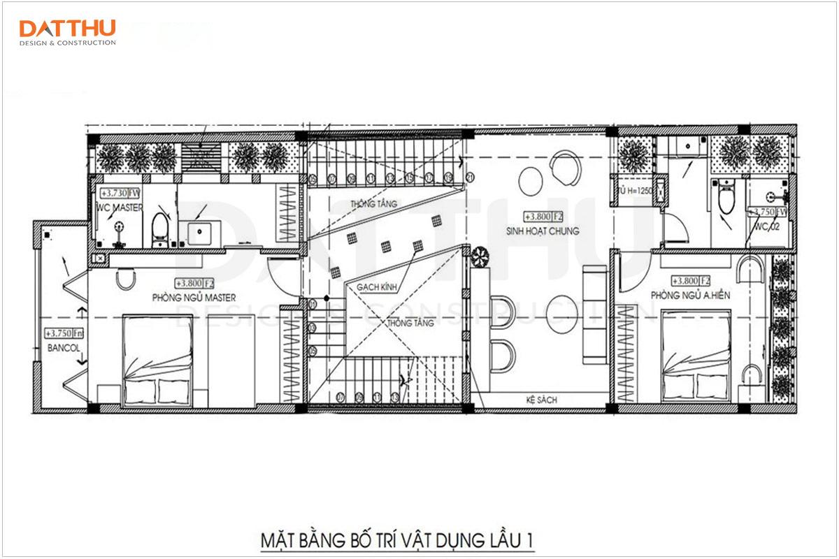 Bản vẽ mặt bằng tầng 1 nhà 3 tầng 5x16m
