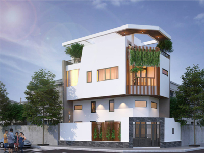 Mẫu thiết kế nhà 3 tầng có gác lửng