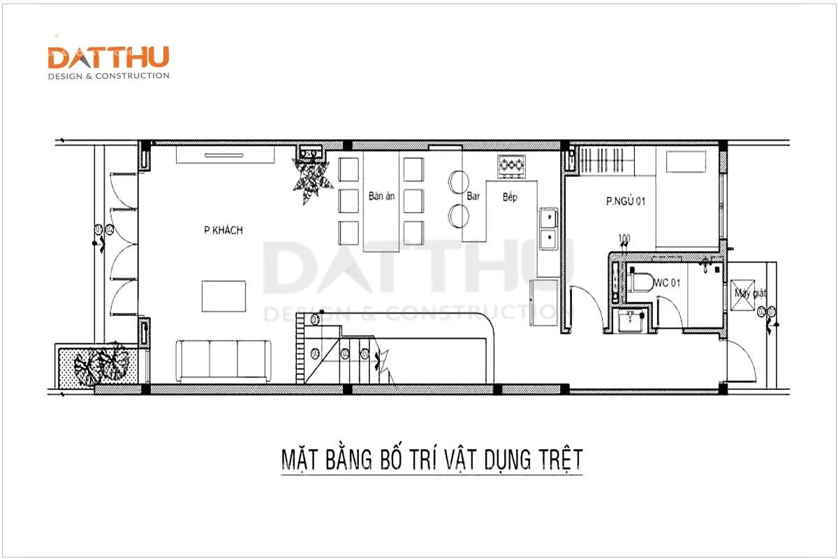 Bản vẽ mặt bằng tầng trệt nhà ống 2 tầng 3 phòng ngủ 5x14m