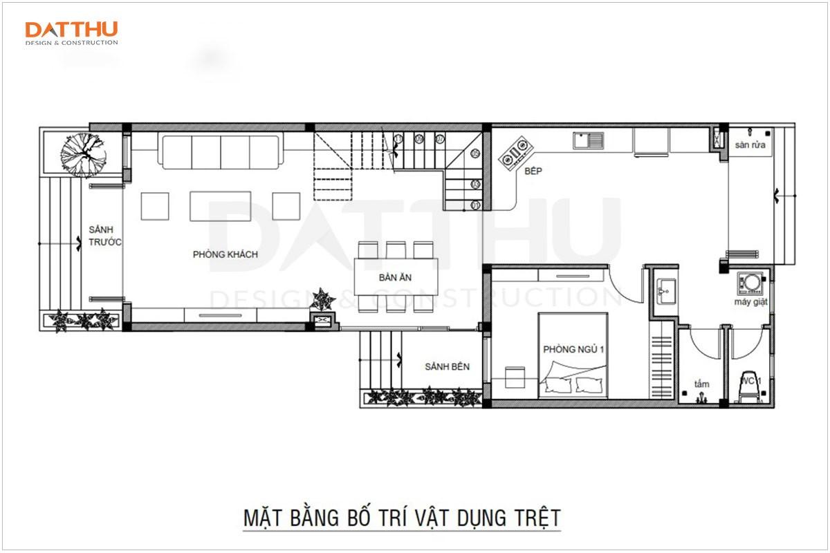 Mặt bằng công năng tầng trệt nhà ống 2 tầng 3 phòng ngủ 5x18m