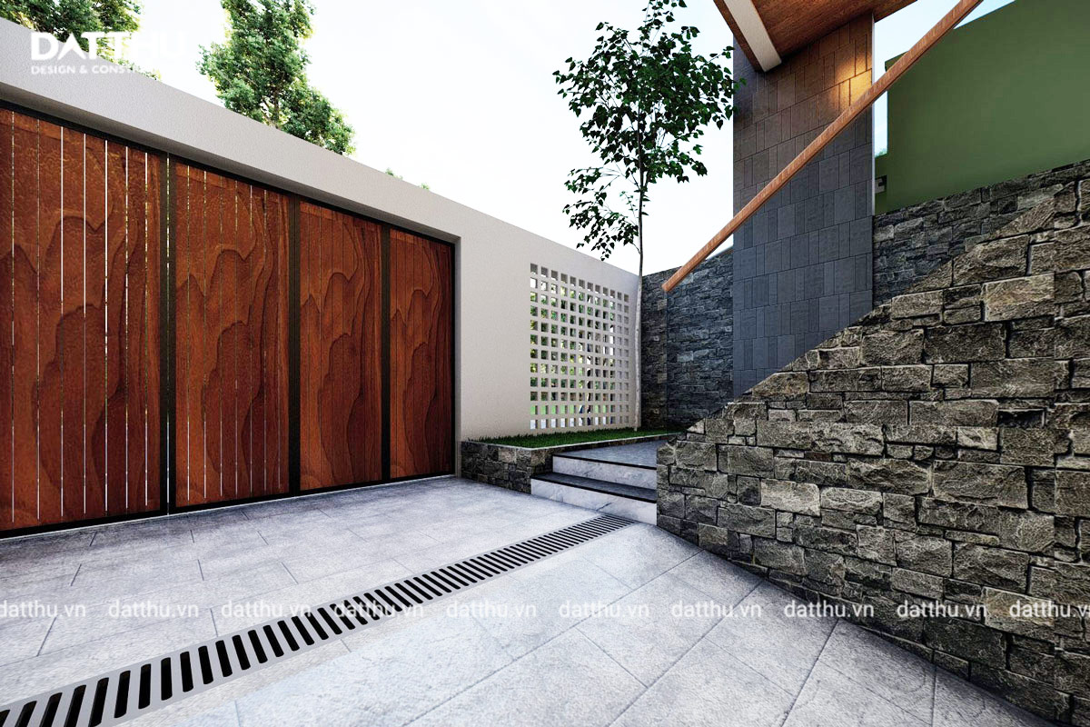 Cổng chính màu gỗ ấm áp