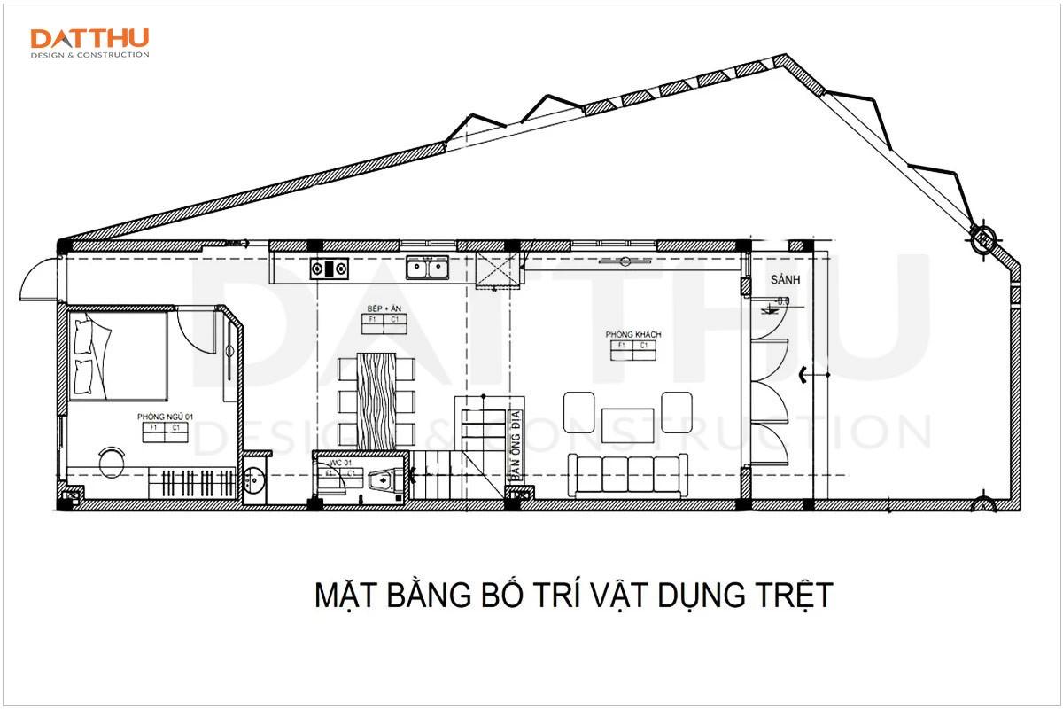 Bản vẽ mặt bằng tầng trệt nhà 2 tầng 3 phòng ngủ 5x20m