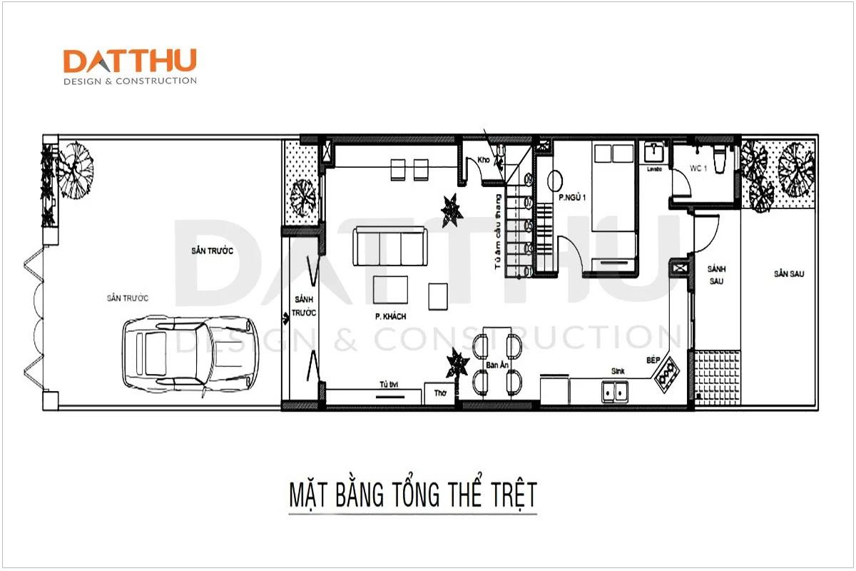 Bản vẽ mặt bằng tầng trệt nhà 2 tầng 3 phòng ngủ diện tích 80m2