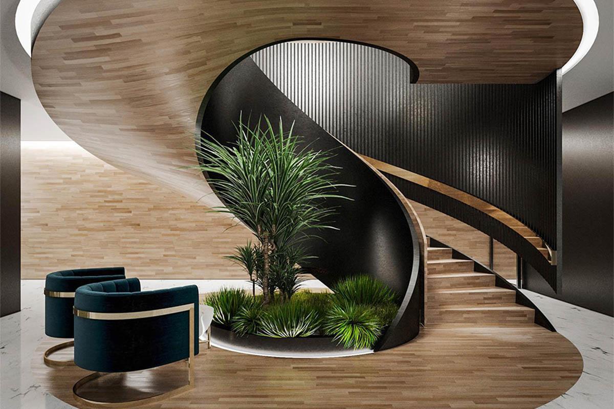 Thiết kế cầu thang nhà ống 2 tầng hình xoắn ốc